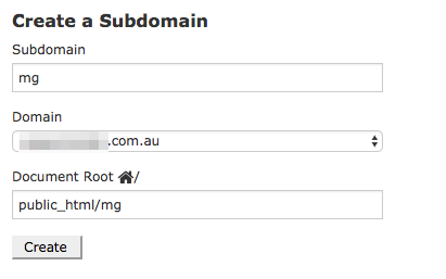 enter subdomain and create
