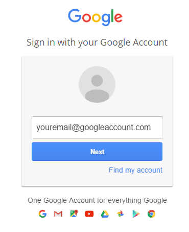 sign in with email address
