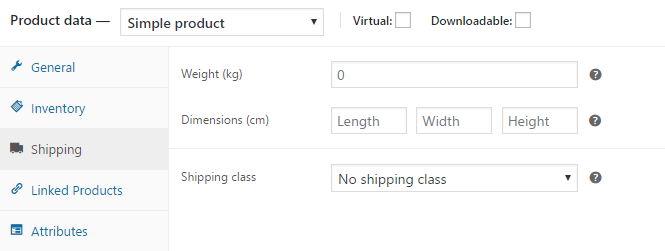 set shipping weight and dimensions