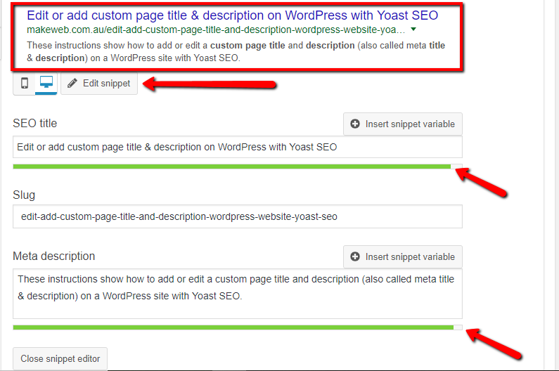 Edit page meta title and description with Yoast SEO