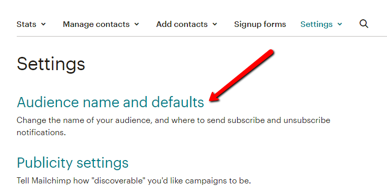 MailChimp audience name and defaults settings