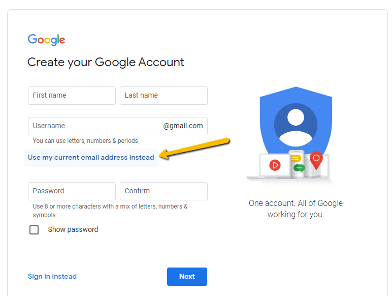 Create google account with current email address instead of new gmail address