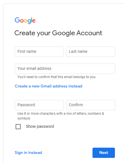 Complete creating new google account with existing email address